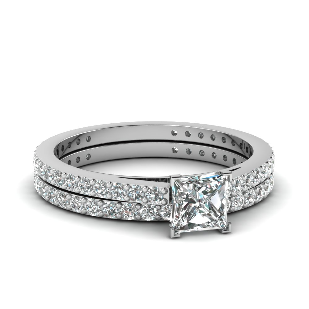 Classic Delicate Princess Cut Diamond Wedding Set In 14k White Gold