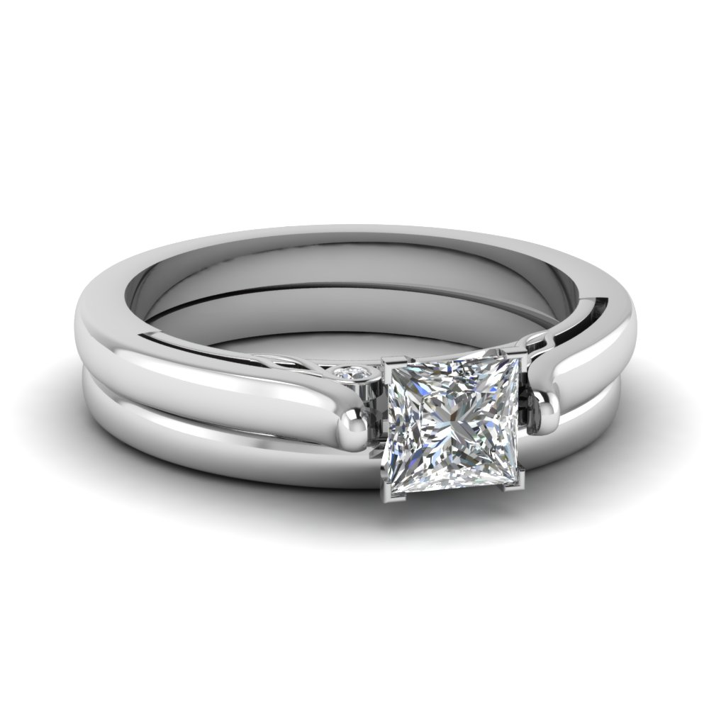 princess cut diamond cathedral wedding ring set in FDENS2000PR NL WG.jpg