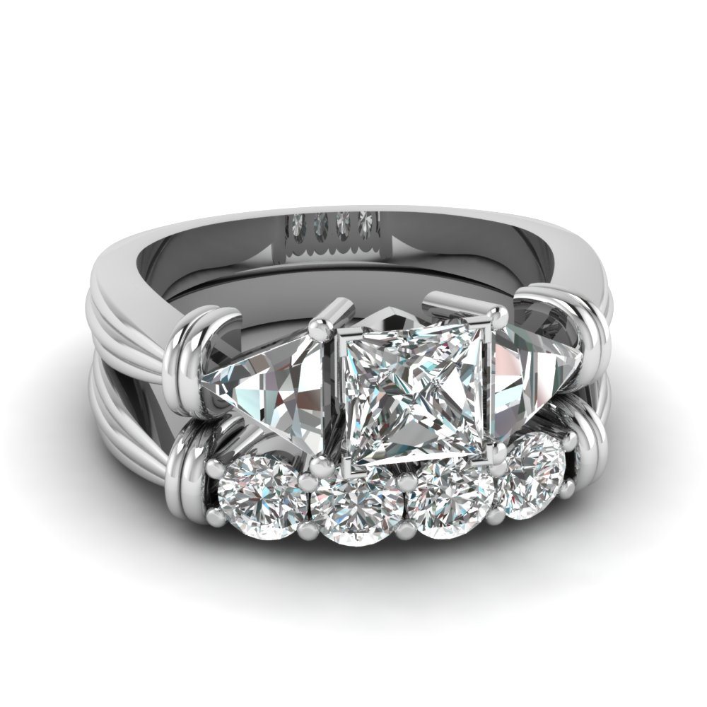 Trillion 3 Stone Princess Cut Diamond Wedding Set In 14k White Gold
