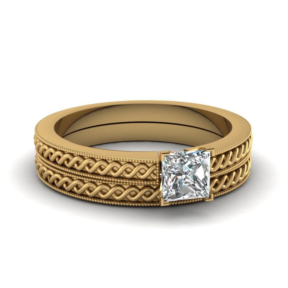 princess cut wedding ring set in 14k yellow gold