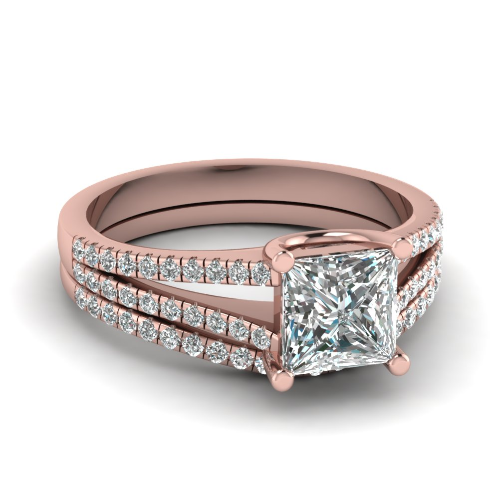 Princess Cut Split Shank Diamond Wedding Ring Set In 14K Rose Gold
