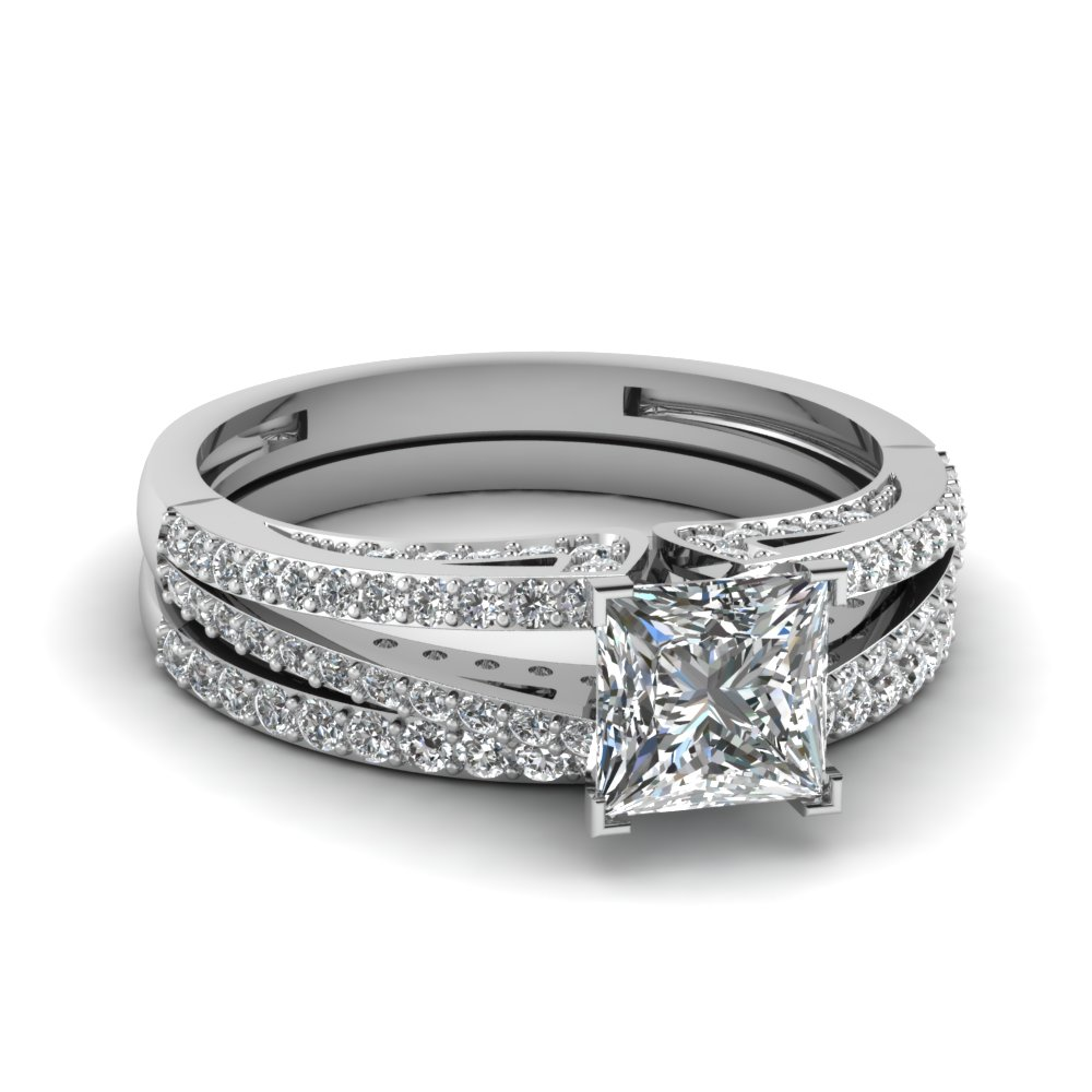 Split Princess Cut Diamond Wedding Ring Set In 18k White Gold