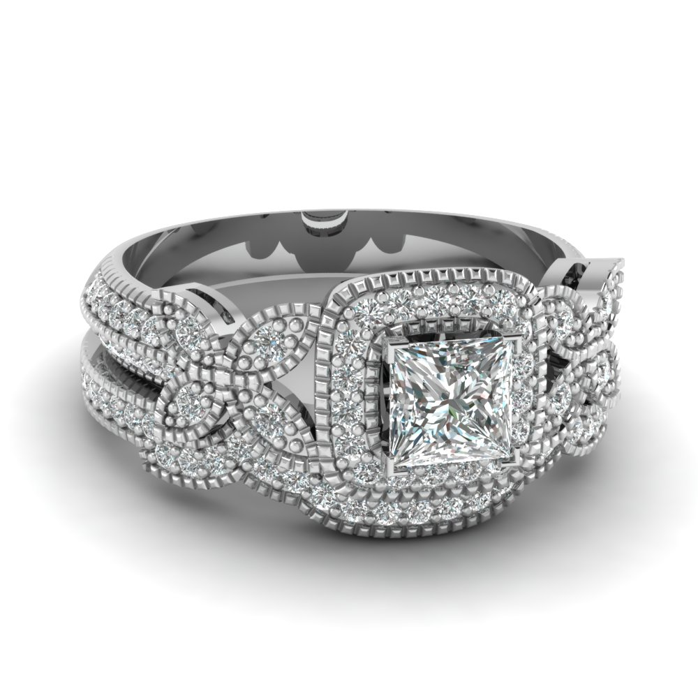 princess cut halo diamond wedding ring set in fdens3262pr nl wgjpg - Butterfly Wedding Ring