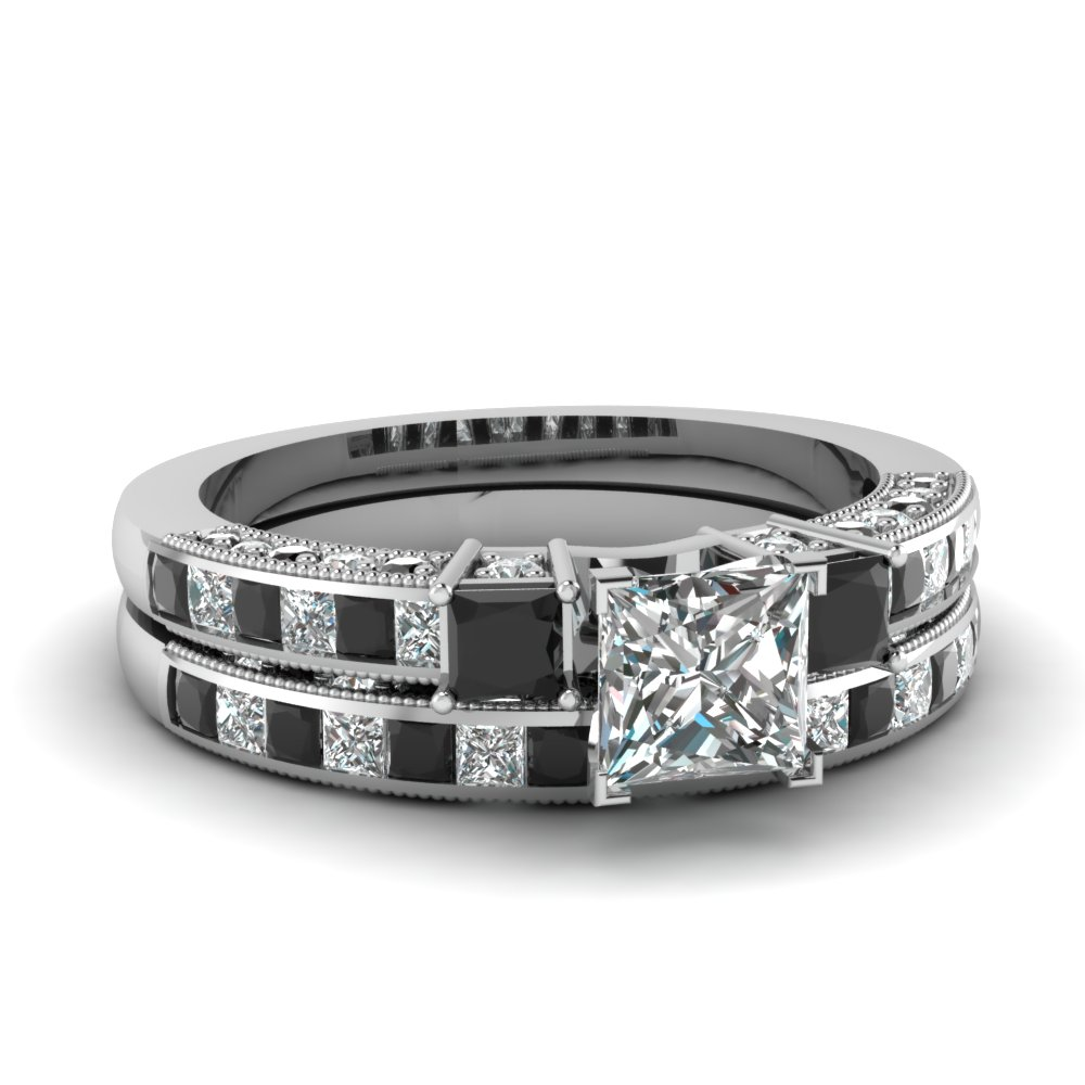 Milgrain Channel Set Princess Black Diamond Wedding Ring Set