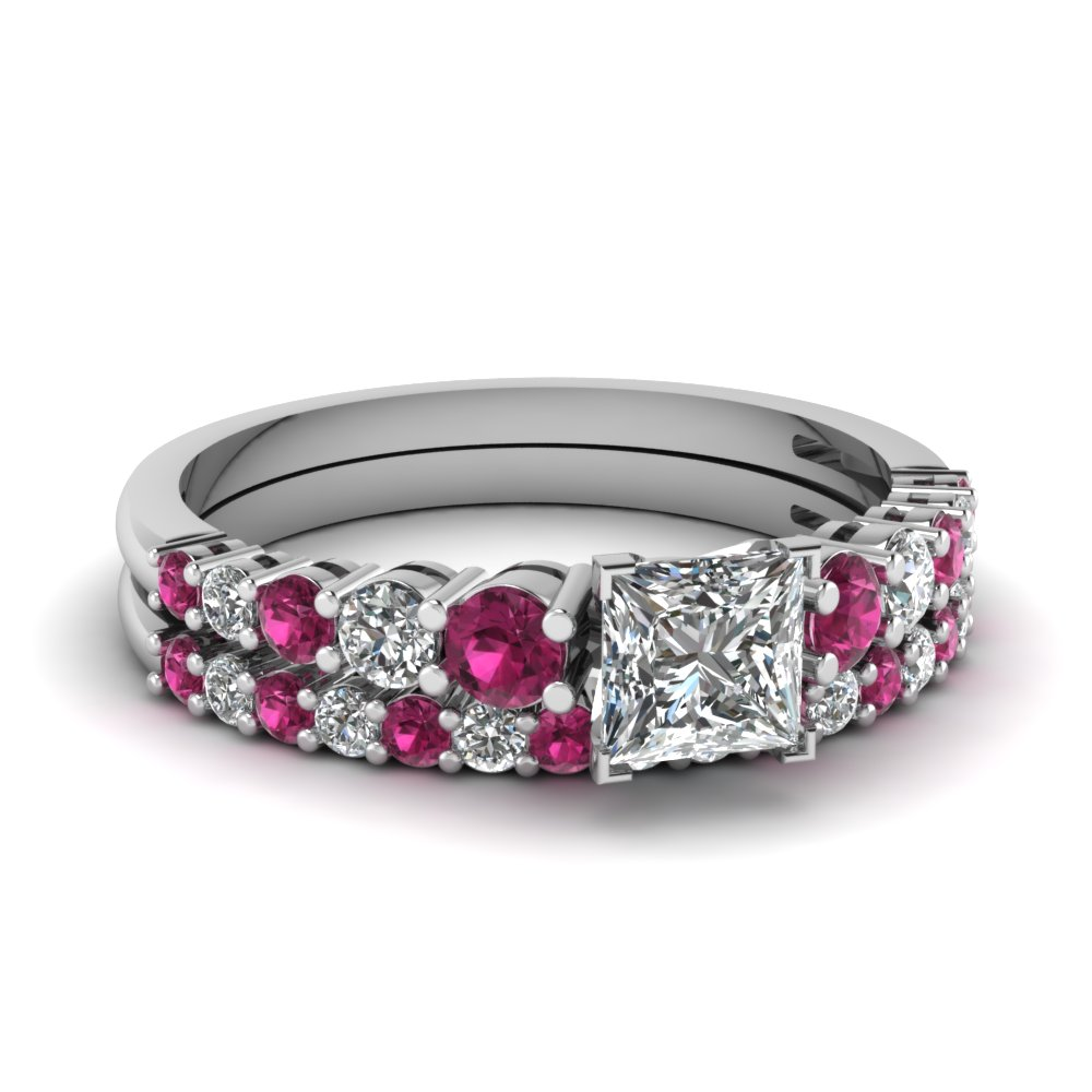 graduated princess cut diamond wedding ring set with pink sapphire in FDENS3056PRGSADRPI NL WG
