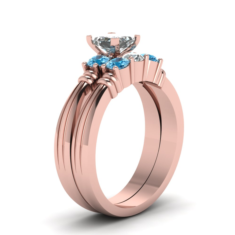Princess Cut Diamond Wedding Ring Set With Ice Blue Topaz In 14K ...