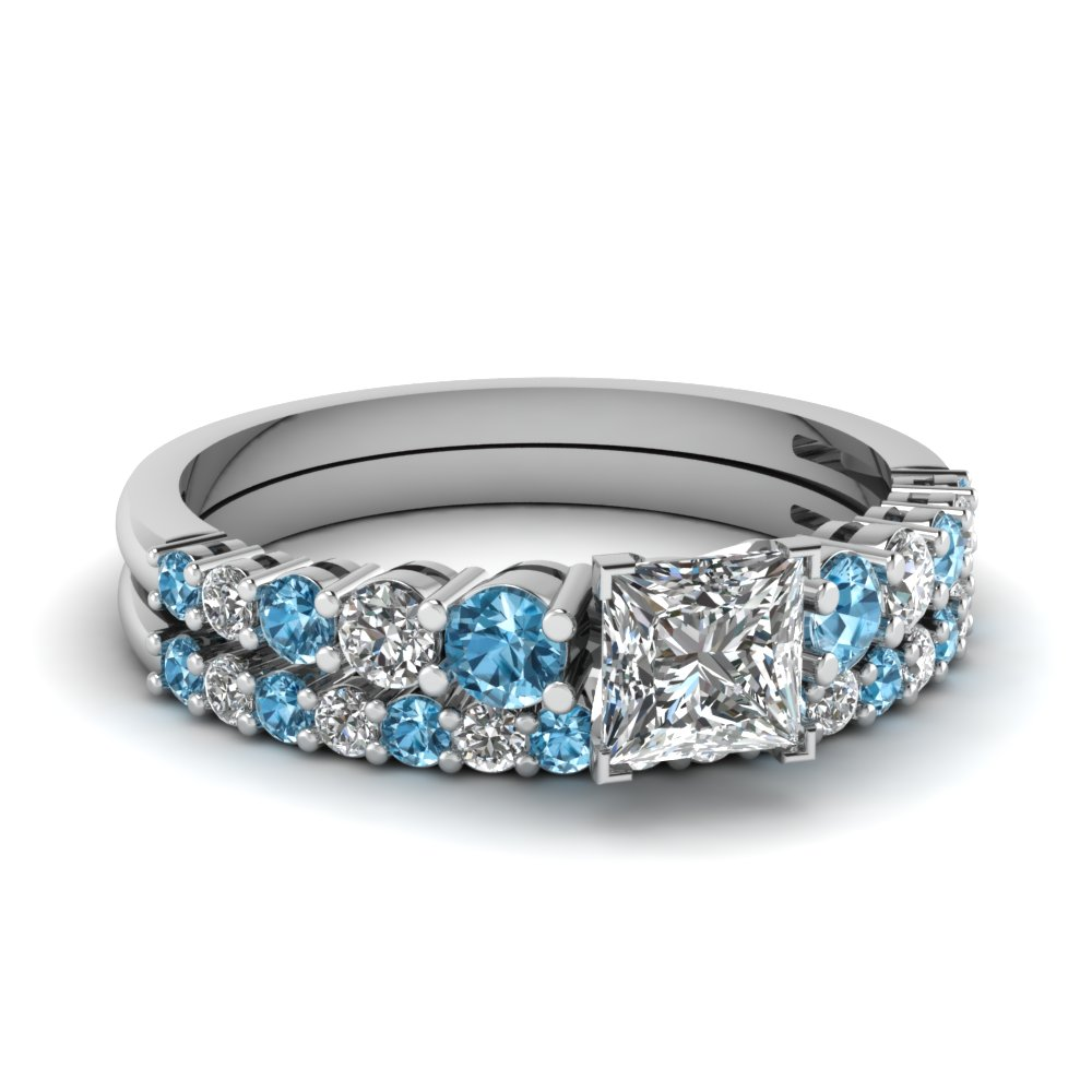 graduated princess cut diamond wedding ring set with blue topaz in fdens3056prgicblto nl wg - Blue Wedding Ring Set