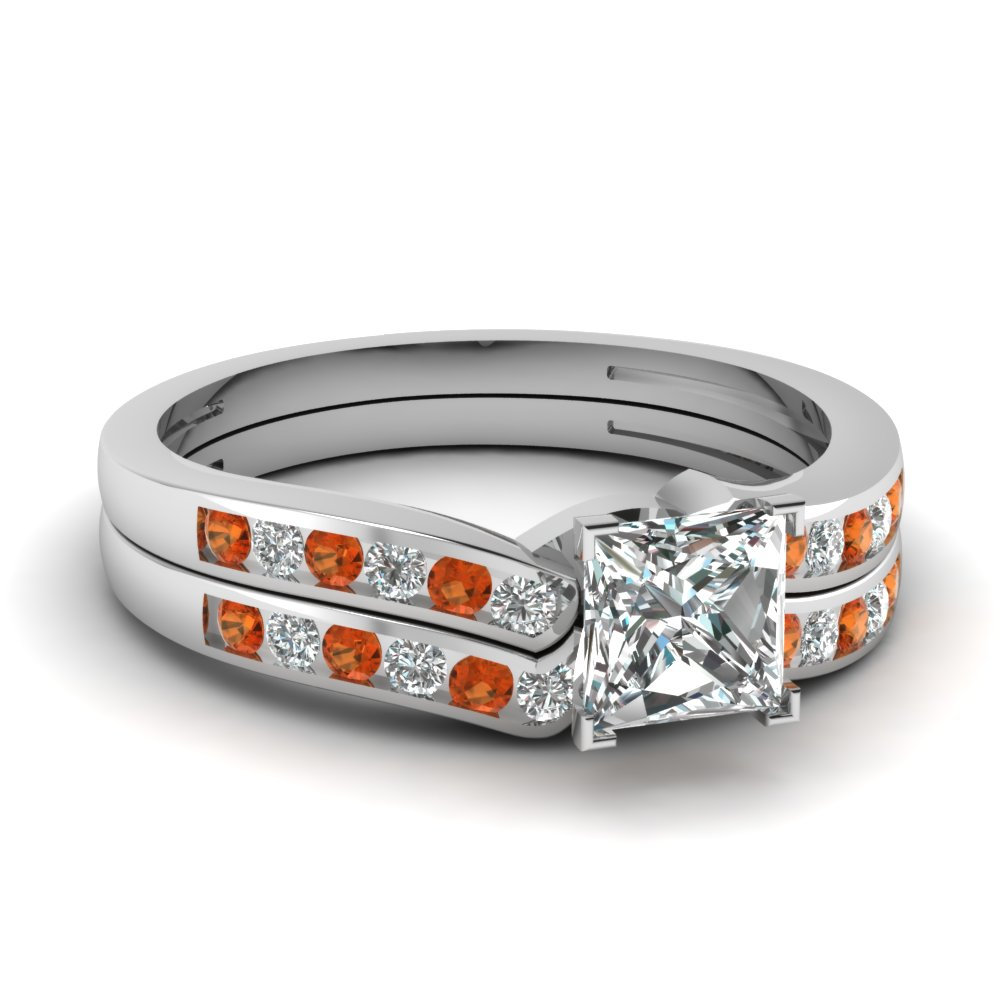 princess cut diamond channel bridal set with orange sapphire in FDENS3092PRGSAOR NL WG.jpg
