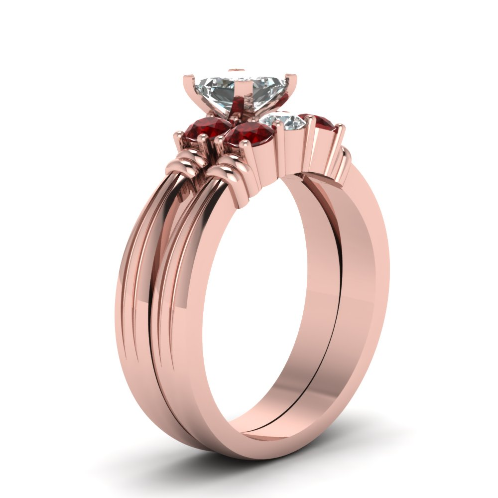 Princess Cut Diamond Wedding Ring Set With Red Ruby In 14K Rose Gold ...