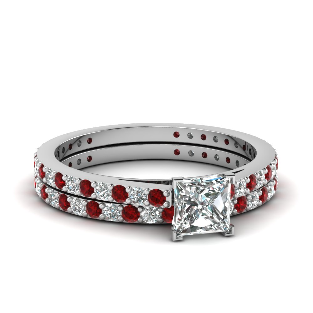 Classic Delicate Princess Cut Diamond Wedding Set With Ruby In 14k