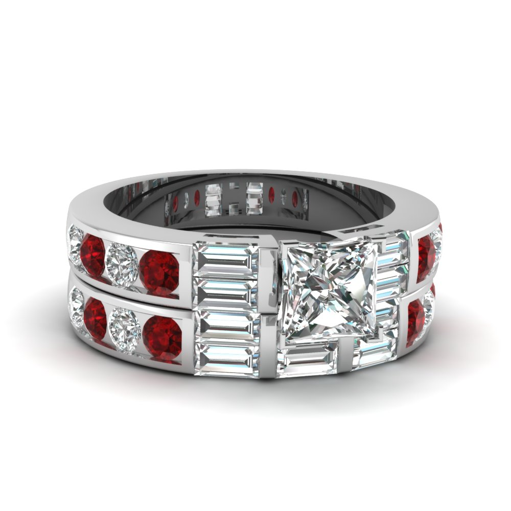 Ruby Ring With Matching Band
