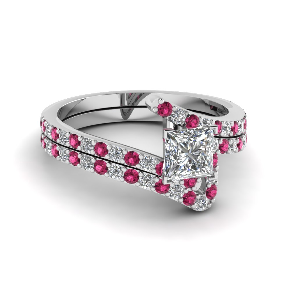 Bypass princess cut diamond bridal ring set with pink for Princess cut pink diamond wedding rings