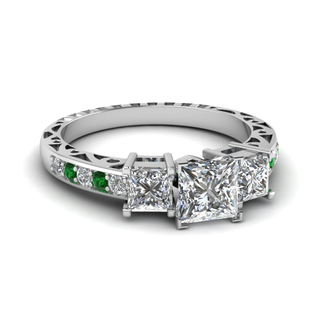 princess cut vintage 3 engagement ring with