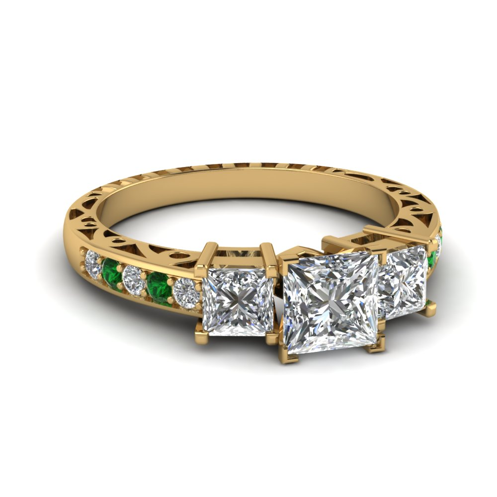 princess cut vintage 3 stone diamond engagement ring with emerald in FDENR1816PRRGEMGR NL YG.jpg