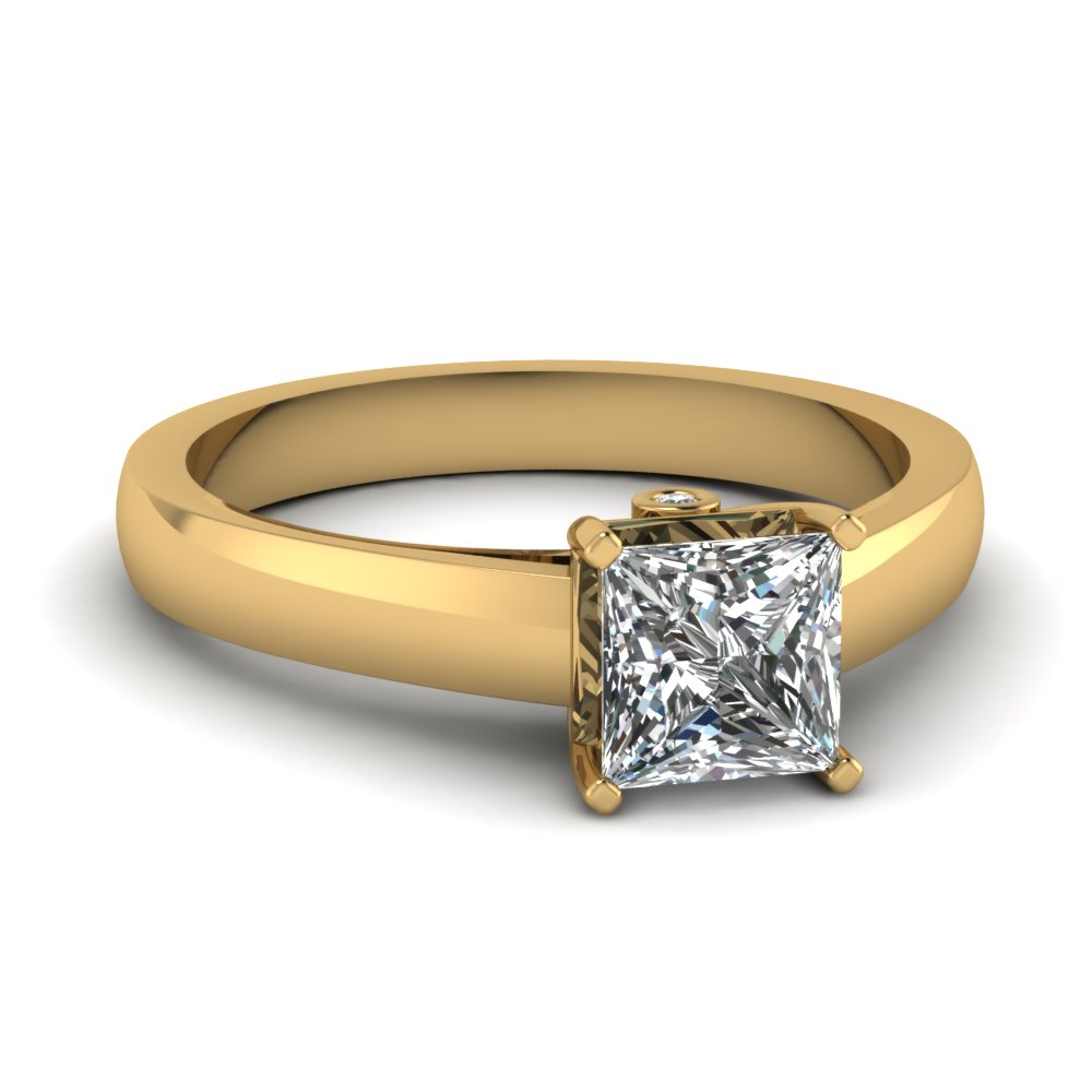 princess cut diamond with bezel set accent half carat engagement ring in 14K yellow gold FDENR7394PRR NL YG
