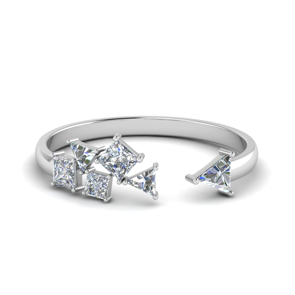 Princess Cut With Trillion Open Ring