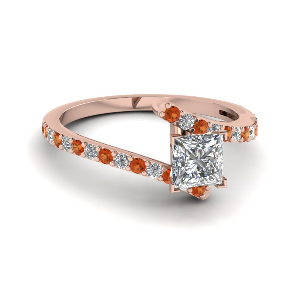 petite bypass princess cut diamond engagement ring with orange sapphire in FDENS3007PRRGSAOR NL RG