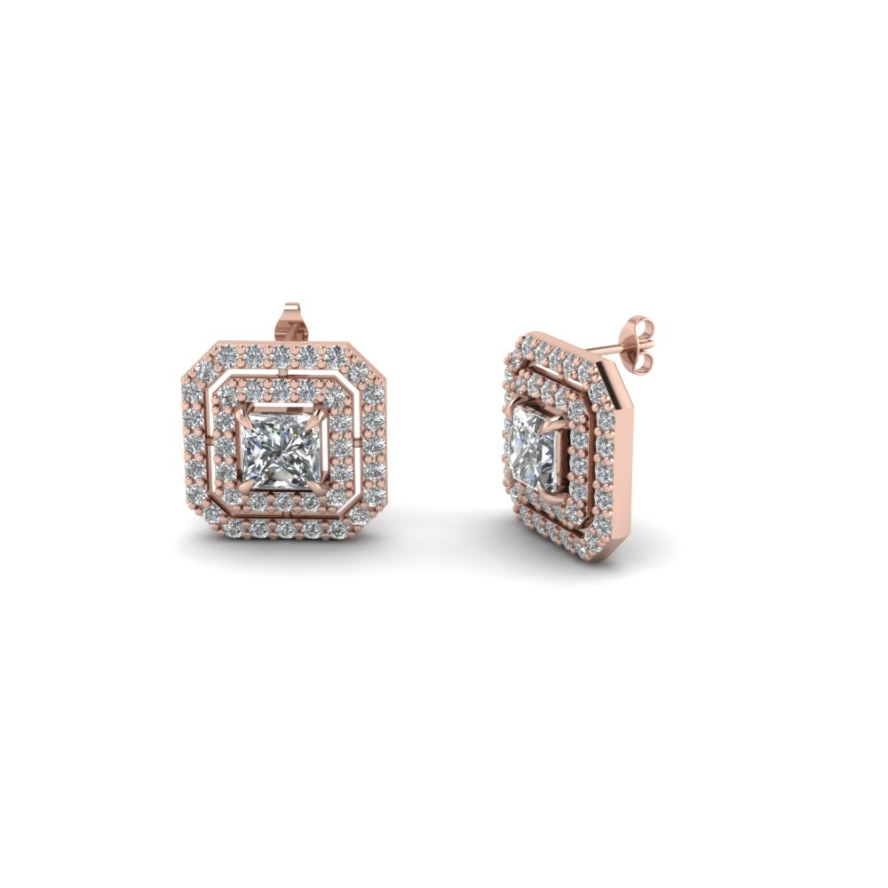Princess Cut Double Halo Diamond Stud Earring In 14k Rose Fdear1189ge Nl Rg