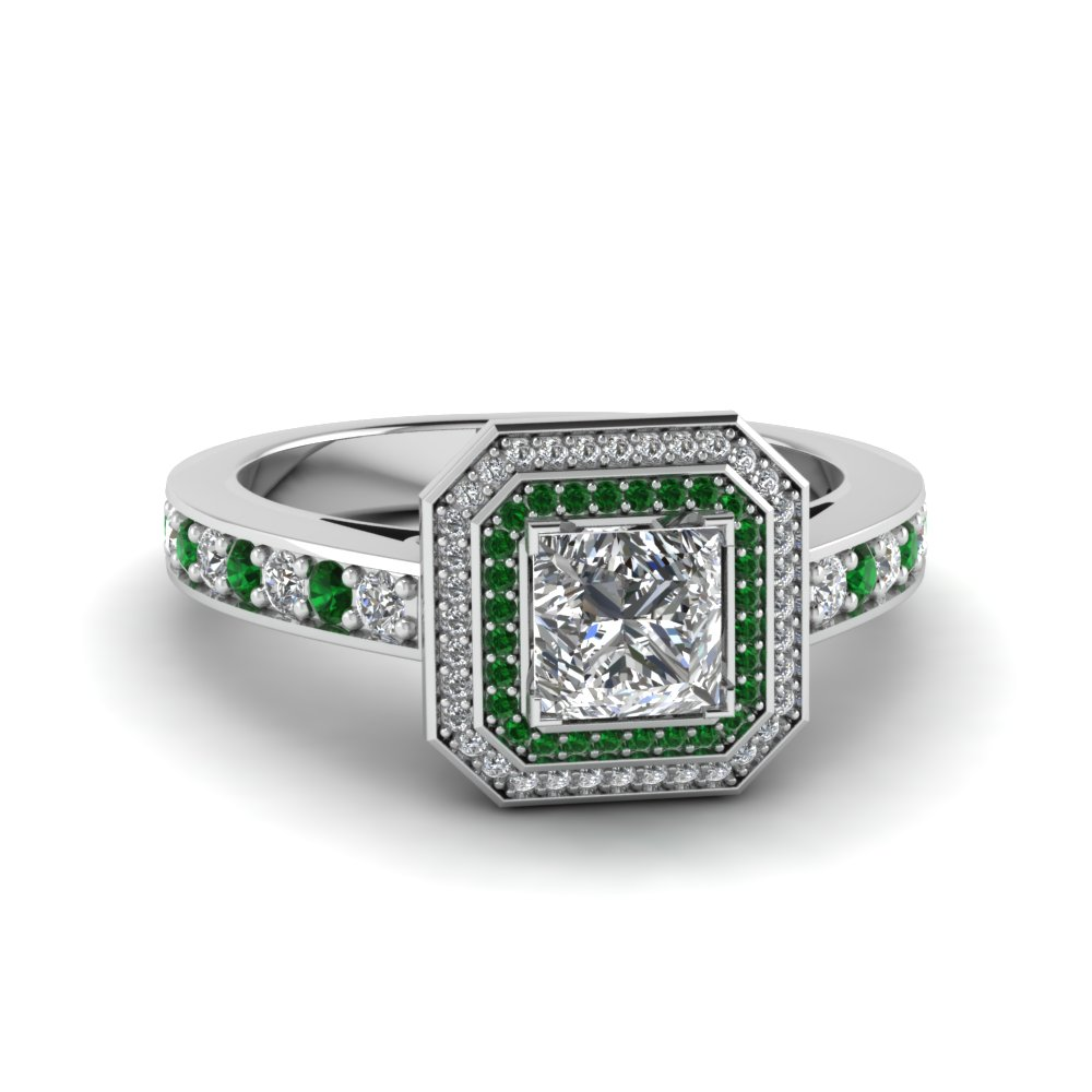 princess cut double halo pave diamond engagement ring with emerald in FDENS3248PRRGEMGR NL WG