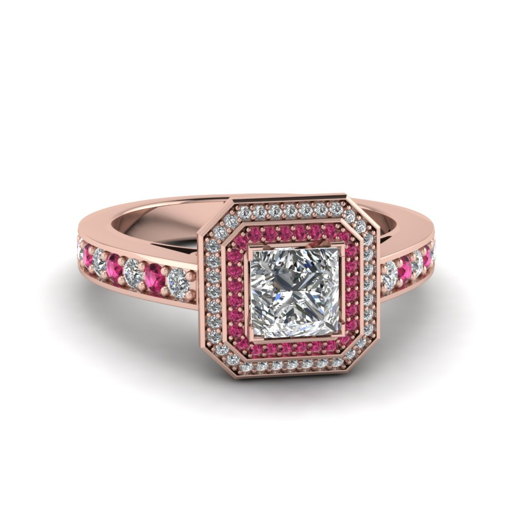 Princess Cut Double Halo Pave Diamond Engagement Ring With Pink Sapphire In 1