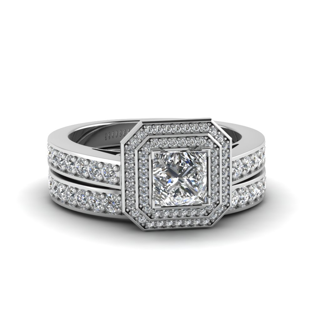 Double Halo Pave Princess Cut Diamond Bridal Set