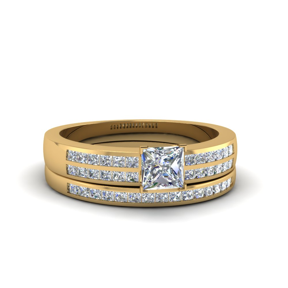 princess cut double row channel diamond wide bridal set in 18K yellow gold FDENS3122PR NL YG