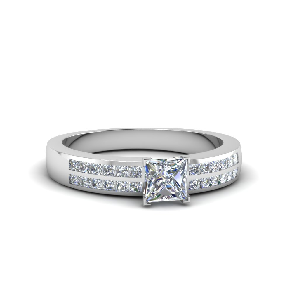princess cut double row channel moissanite wide ring in 14K white gold FDENS3122PRR NL WG