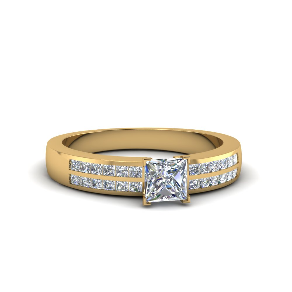 princess cut double row channel diamond wide ring in FDENS3122PRR NL YG