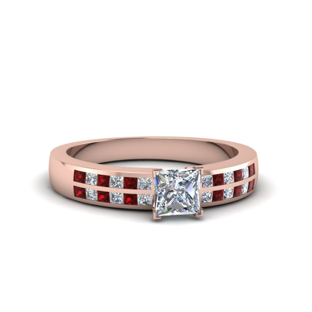 princess cut double row channel diamond wide ring with ruby in FDENS3122PRRGRUDR NL RG