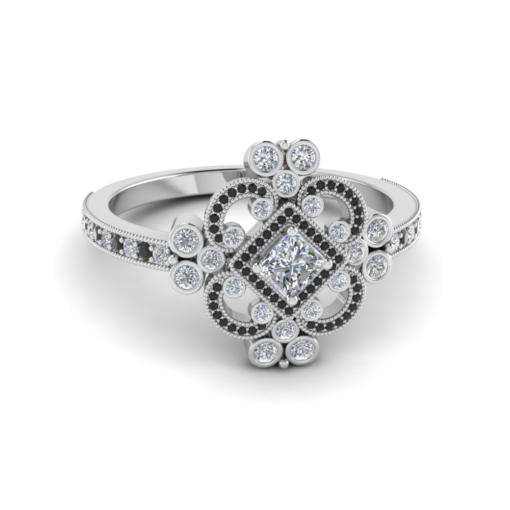 Princess Cut Edwardian Vintage Look Halo Engagement Ring ...