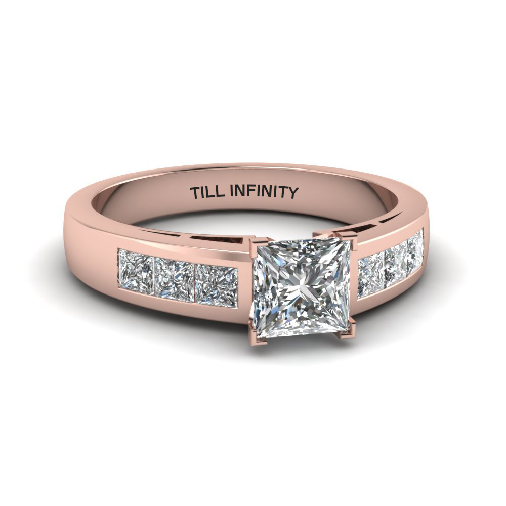 princess cut engraved channel accent diamond engagement ring in 14K rose gold FDENS167PRR NL RG EG