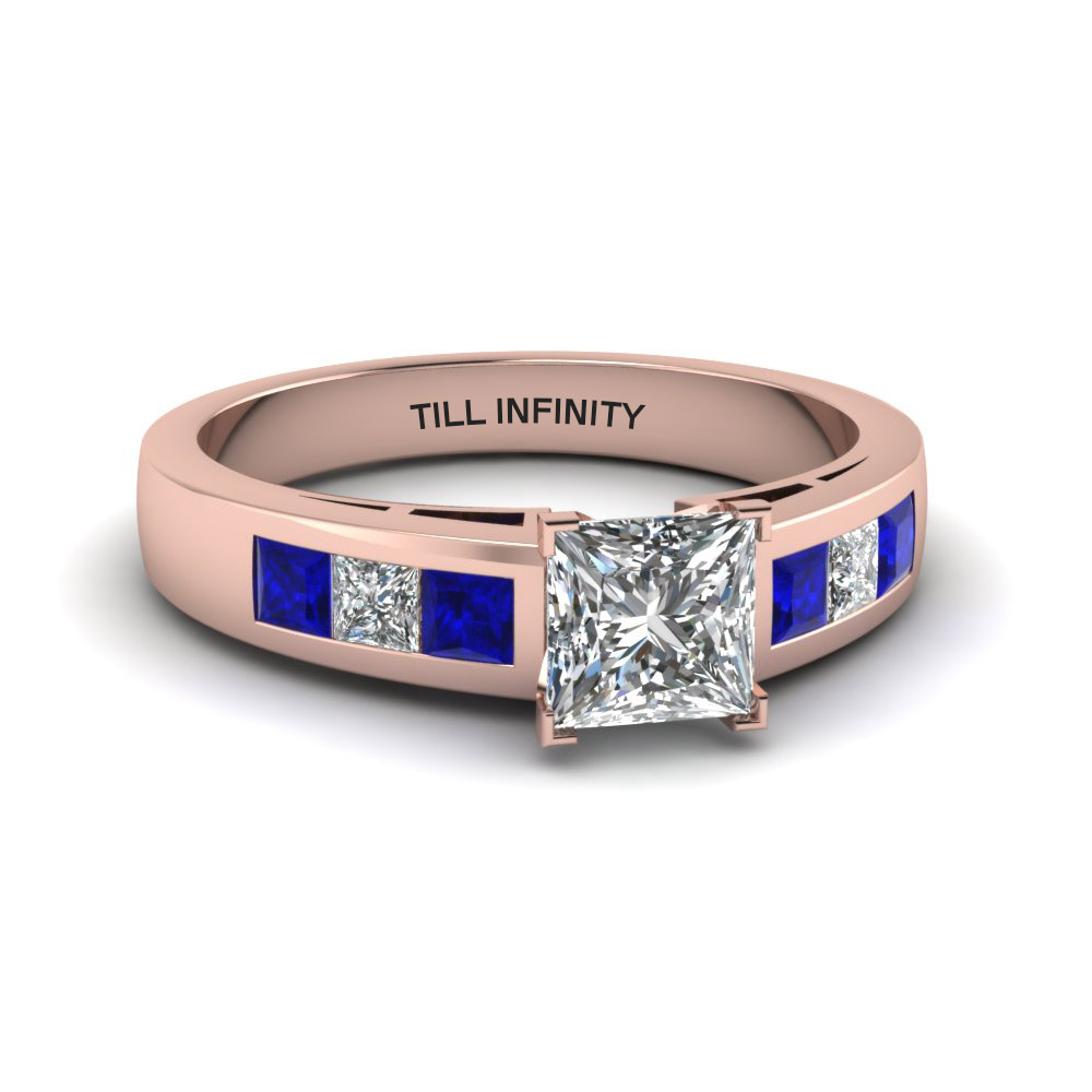 princess cut engraved channel accent diamond engagement ring with blue sapphire in 14K rose gold FDENS167PRRGSABL NL RG EG