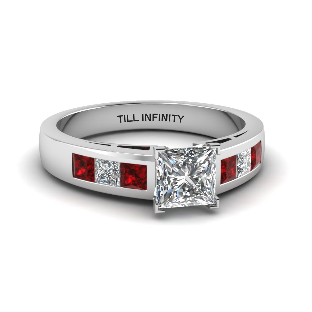 princess cut engraved channel princess accent diamond engagement ring with ruby in 14K white gold FDENS167PRRGRUDR NL WG EG