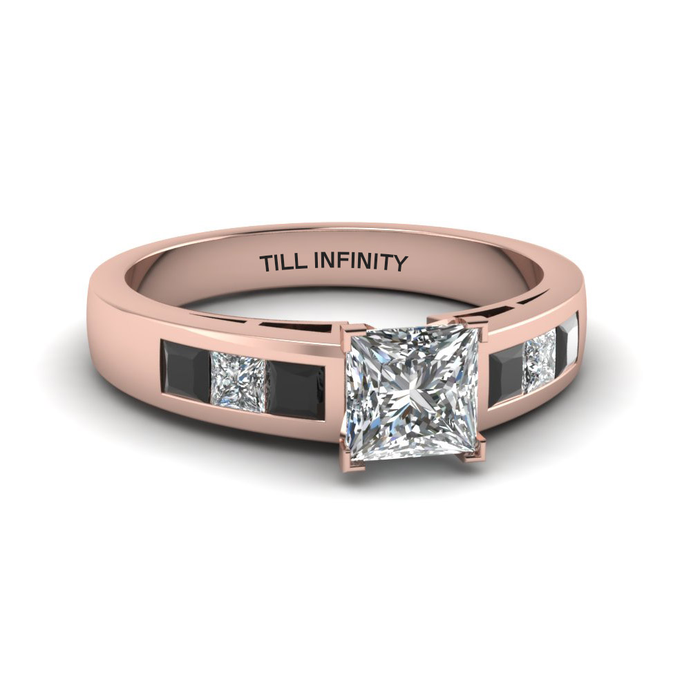 princess cut engraved channel princess accent engagement ring with black diamond in 14K rose gold FDENS167PRRGBLACK NL RG EG