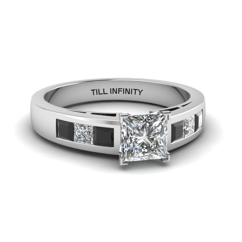 Engraved Channel Set Black Diamond Ring