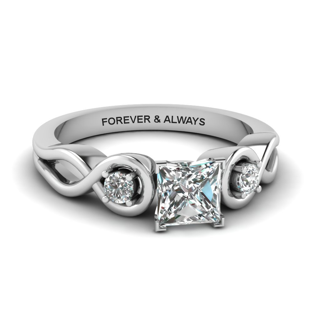Princess Cut Engraved 3 Stone Ring