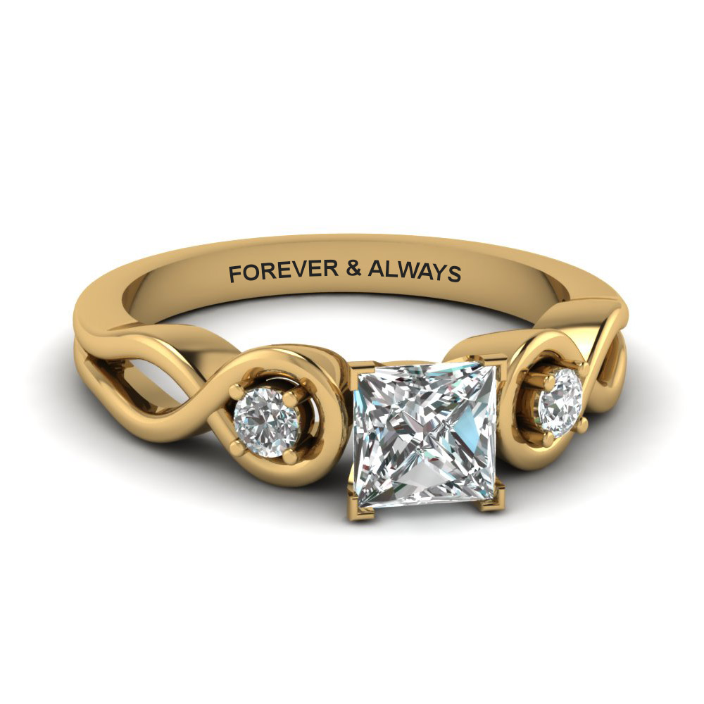 princess cut engraved three stone diamond engagement ring in 14K yellow gold FD1154PRR NL YG