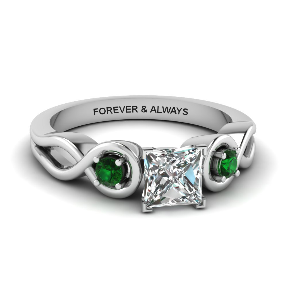 Princess Cut Engraved Emerald Ring