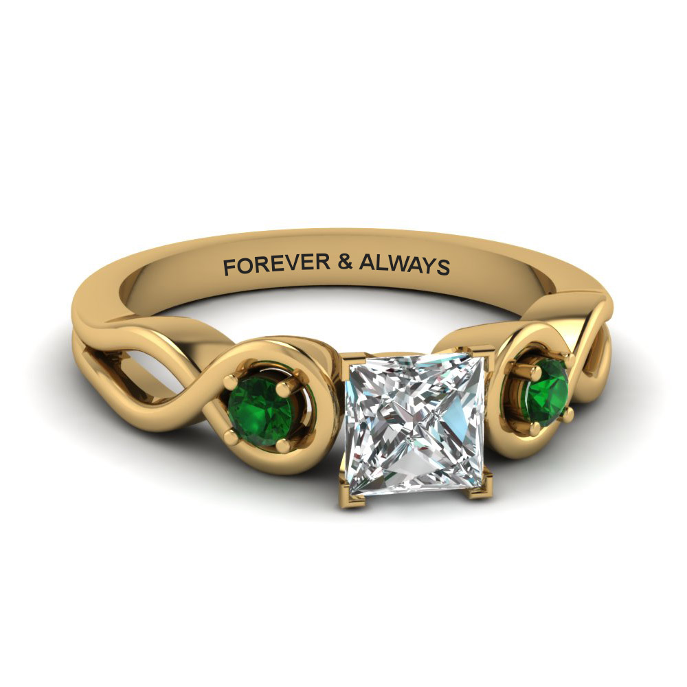 princess cut engraved three stone diamond engagement ring with green emerald in 14K yellow gold FD1154PRRGEMGR NL YG