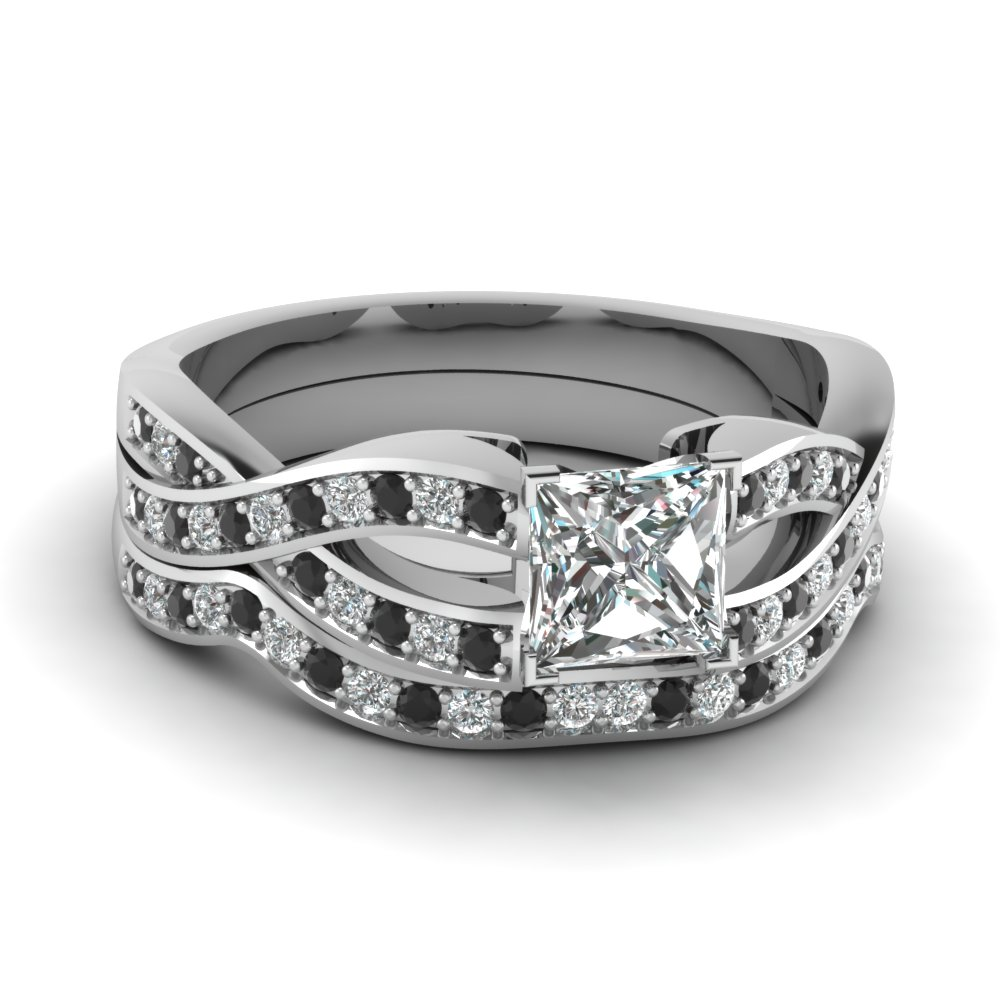 Princess Cut Entwined Pave Bridal Set With Black Diamond In 18K White Gold