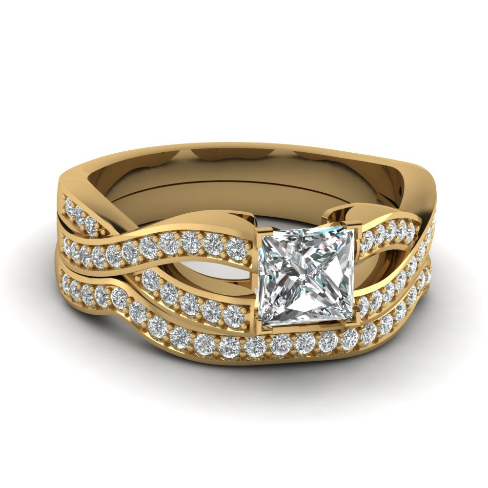 Split Shank Pave Diamond Ring Set