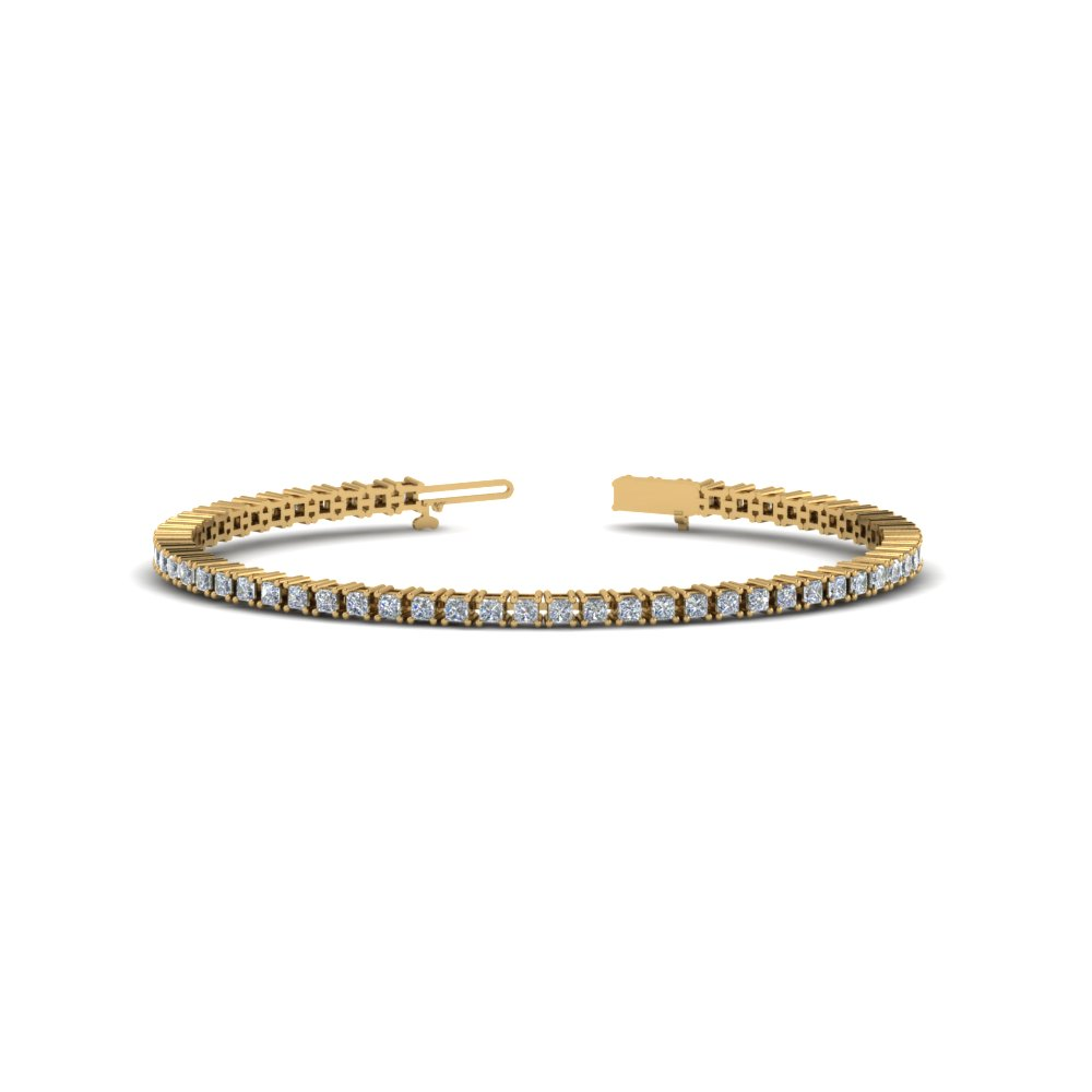Princess Cut Eternity Diamond Tennis Bracelets In 14k Yellow Gold Fdbr00004pr Nl Yg
