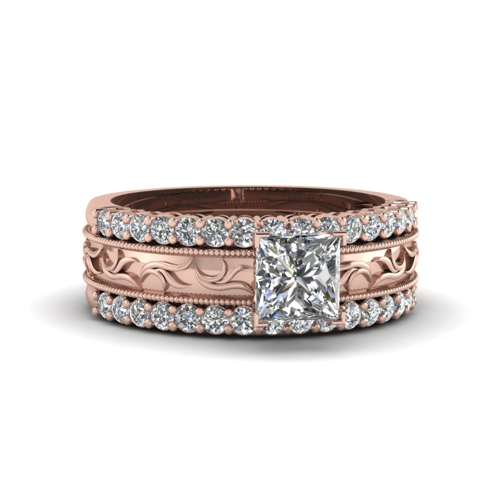 princess cut filigree milgrain band with diamond trio wedding ring sets in 14k rose gold fd8100tpr - Princess Cut Wedding Ring Sets