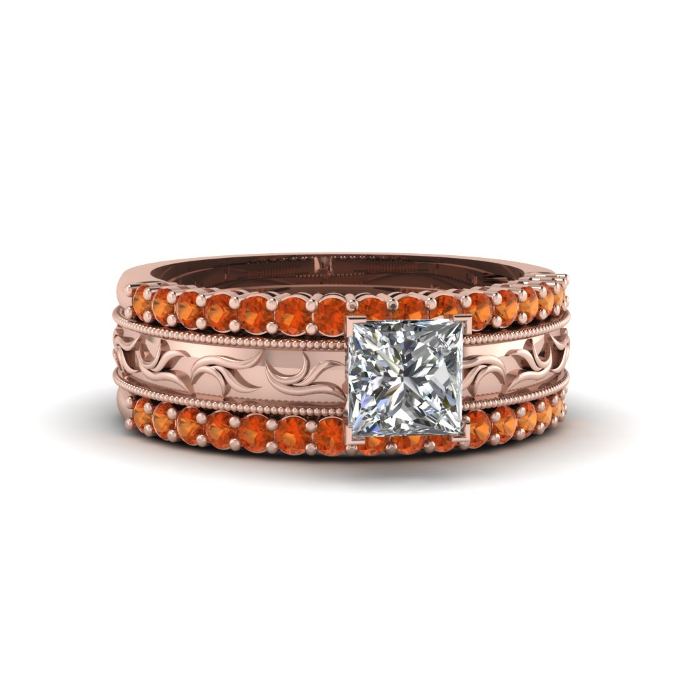 filigree engraved princess cut diamond trio wedding ring set with orange sapphire in FD8100TPRGSAOR NL RG