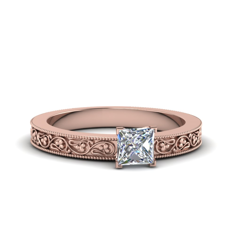 princess cut filigree solitaire diamond engagement ring for women in 18K rose gold FDENS3627PRR NL RG