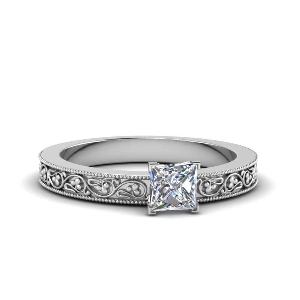 princess cut filigree solitaire diamond engagement ring for women in 950 Platinum FDENS3627PRR NL WG