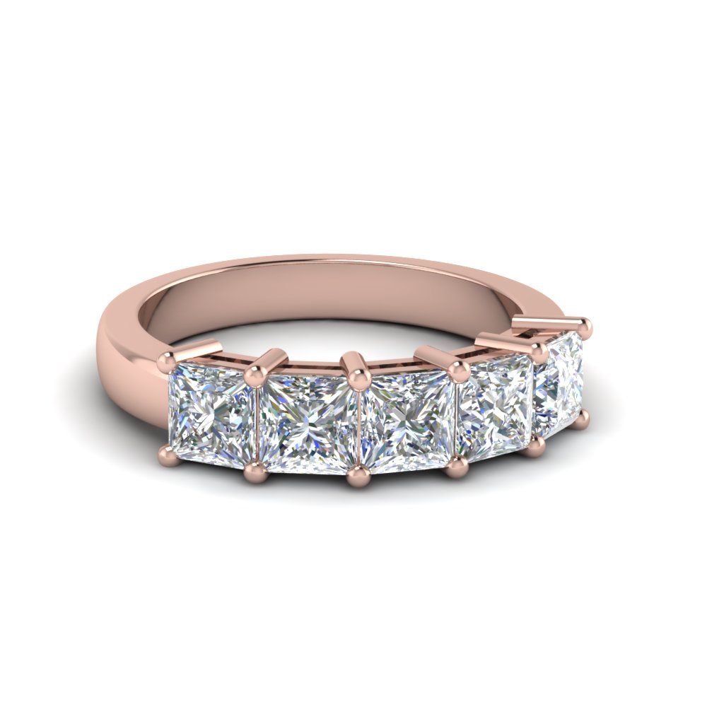 2 Carat Princess Cut Five Stone Band