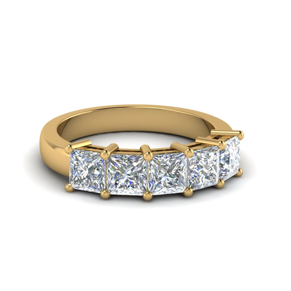 2 Ct. Princess Cut Five Stone Wedding Ring