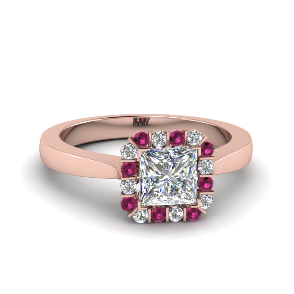 princess cut pink sapphire halo engagement rings. Black Bedroom Furniture Sets. Home Design Ideas