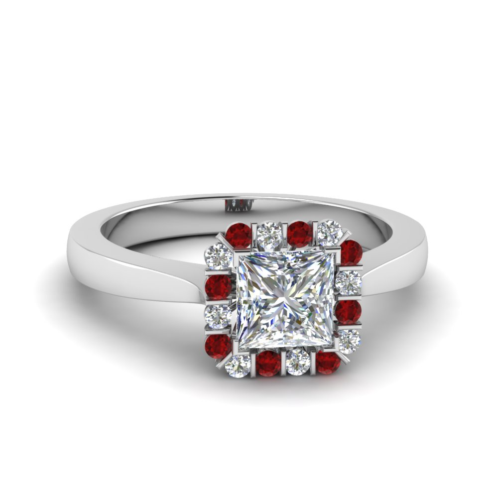 princess cut floating halo diamond engagement ring with ruby in FDENS3257PRRGRUDR NL WG